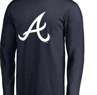 Atlanta Braves Primary Logo Long Sleeve T-Shirt - Navy Baseball Acuna Albies