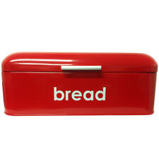 POWDER COATED RED FLAT TOP BREAD BIN KITCHEN STORAGE LOAF BOX RETRO CONTAINER