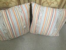 "NEW ROXY CHAMELEON STRIPE BLUE ORANGE SHELLS 16"" SQUARE DECORATIVE THROW  PILLOW"
