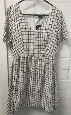 Very J Size M White Black Check Casual Business Work Dress BNWT