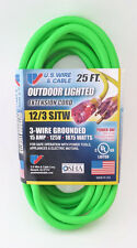 25' 12 Gauge Fluorescent Green Extension Cord with Lighted End - MADE IN USA