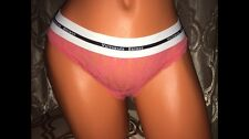 VICTORIA SECRET SALMON LACEY THONG WITH THICK WAIST BAND SMALL NWT VS