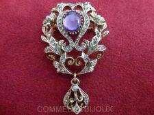 """Broche """"Néo Classique style Miroir"""" Violet Château Fief - Bijoux Vintage Sphinx"""