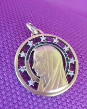 18K GOLD VINTAGE VIRGIN MARY PENDANT WITH DIAMONDS & SAPPHIRE HALO , BY A.AUGIS.