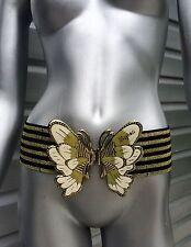 MEGHAN Striped Gold Black Enamel Butterfly Stretch Cinch Belt