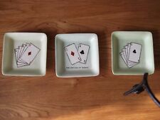 Vintage, Midwinter, Burslem x 3 Pin Trays, Signed.(Poker/Bridge players ideal)