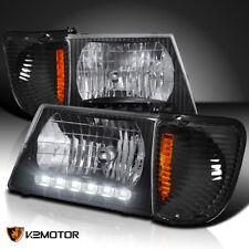 92-06 E150 E250 Econoline Van LED Headlights+Signal Corner Lamps Black