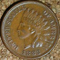 1883 Indian Head Cent - GORGEOUS AU SPECIMEN, FULLY STRUCK  (K858)