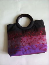 Beaded bag with wooden handle  and embroidery black/purple & red
