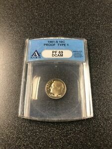 1981 S ROOSEVELT DIME PROOF TYPE 1 ANACS PF69 DCAM