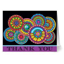 24 Note Cards - Paisley Floral Thank You Purple - Plum Purple Envs