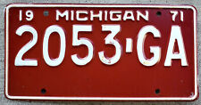 1971 White on Red Michigan 1-Ton Truck License Plate