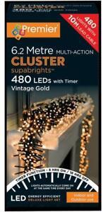 Festive Xmas 480 LED Multi Function Vintage Gold Cluster Christmas Lights