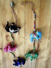 Elephants on a string 4 ft stuffed wall hanging w/ bell