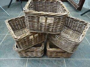 Wicker woven baskets set of five