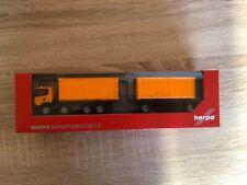 Herpa 309950-1/87 Scania CG 17 8x4 Abrollmulden-Hängerzug - Municipal Naranja