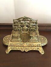 Rare Antique Art Nouveau Solid Brass Letter Holder Inkwell, Made in Belgium