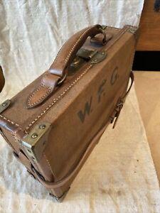 Antique Brass, Canvas & Leather Cartridge Case Box Cartridge Magazine 12 Gauge