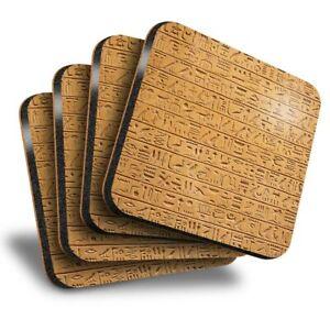 Set of 4 Square Coasters - Egyptian Hieroglyphics Stone Wall  #16104