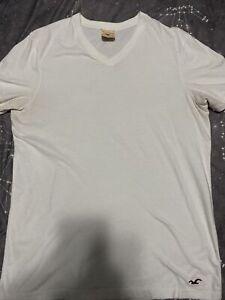 Mens Hollister Co. White V Neck Large Shirt