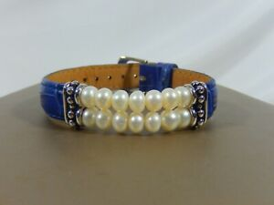 HONORA DOUBLE ROW WHITE PEARL BLUE GENUINE LEATHER SP BRACELET NWOT