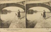 France Tours all Edges of La Loire Bridge, Stereo Postcard Héliotypie Ca 1920