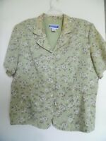 Pendleton Womens Green Brown Floral Lined Top Blouse Sz 16