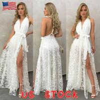 Women Sexy Lace Slim Bodycon Prom Gown Party Evening Cocktail Halter Long Dress