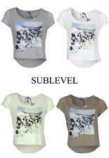 Sublevel Damen T-Shirt SMILEY Damenshirt Pailletten Besatz Rundhals-Ausschnitt