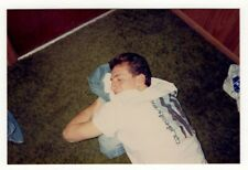 Vintage Photo Young Man Sleeping On Floor College Student Dorm 1980's Mar19
