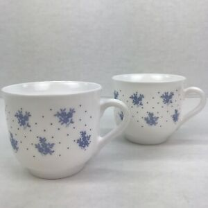 Vtf Arcoroc France Dainty Blue Flower 8oz Milk Glass Cups 2pc