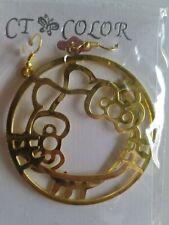 Hello Kitty Gold Tone Dangle Hoop Earrings