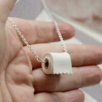 Kreative Toilettenpapierrolle Halskette Sterling Ohrringe Silber Kette Link S7Z5