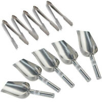 """5x 5oz Sweet Scoops & 5x 5"""" Ice Tongs Wedding Candy Buffet Bar Stainless Se M8L3"""
