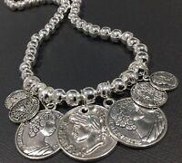 Tibetan Silver Coins Silver Stretch Necklace Boho Bijoux Gypsy Festival