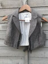 MISS SELFRIDGES TWEED CROP WAIST COAT. STEAM PUNK. PUNK. SIZE 12. BNWT