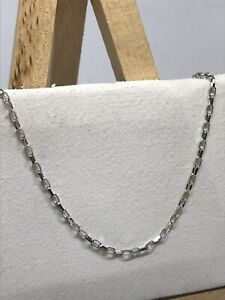 Solid Genuine 9ct White Gold 1.2 mm Belcher Link Chain Necklace ALL SIZE