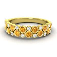0.91 Ct Natural Diamond Citrine Wedding Band 14K Yellow Gold Ring Size 5 6 7 8