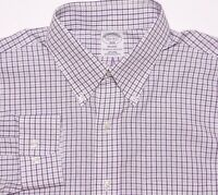 BROOKS BROTHERS Long Sleeve NON-IRON Regent Dress Shirt Purple Plaid 16.5 30 31