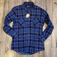 BIG YANK Men's Medium Flannel Shirt Plaid Blue Red White NWT