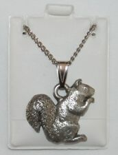 Squirrel Harris Fine Pewter Pendant w Chain Necklace USA Made