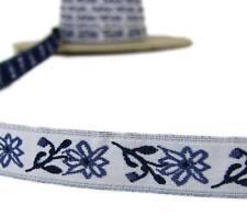 "5 Yds Vintage Blue Flower Flowers Woven Jacquard Ribbon Trim 3/4""W"