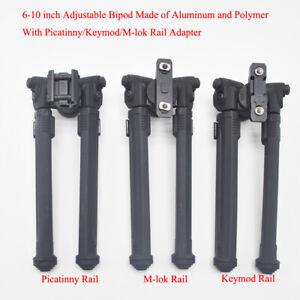 Black 6-10'' Adjustable Bipod 1913 Picatinny/keymod/M-lok Rail Aluminum Polymer