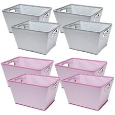 "4pk Storage Bins 10"" Tapered Cloth-Covered Baskets Double Handle Fabric Tote"