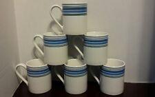 6 Correlle Coordinates Coffee Mugs Stoneware Green Blue Grey Stripes