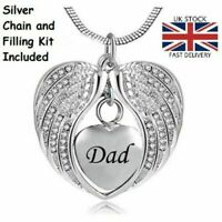 Dad Angel Wing Heart Cremation Urn Pendant Ashes Necklace Funeral Memorial