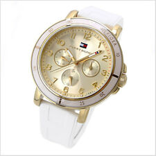 Tommy Hilfiger Tara Women Gold Tone White Rubber Band Watch 40mm 1781511 $165