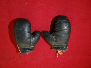 Vintage Leather Miniature Boxing Gloves Blue/Black + White Nice Mini Gloves