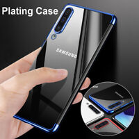 Plating Soft Silicone Hybrid Clear TPU Case Cover For Samsung Galaxy A40 A50 A70
