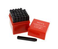 """ABN Metal 1/4"""" Inch Stamping 36-Piece Tool Kit – Embossing & Engraving Stamp Set"""